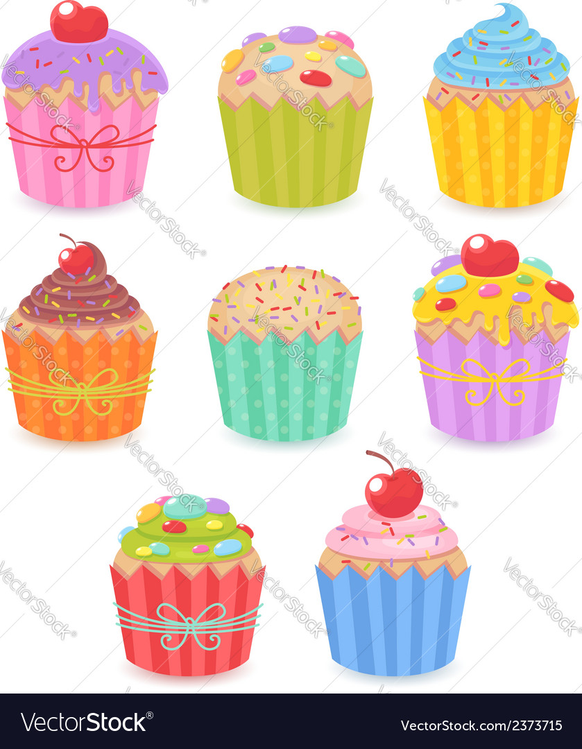 A set of tasty colorful muffins and cupcakes vector | Price: 1 Credit (USD $1)