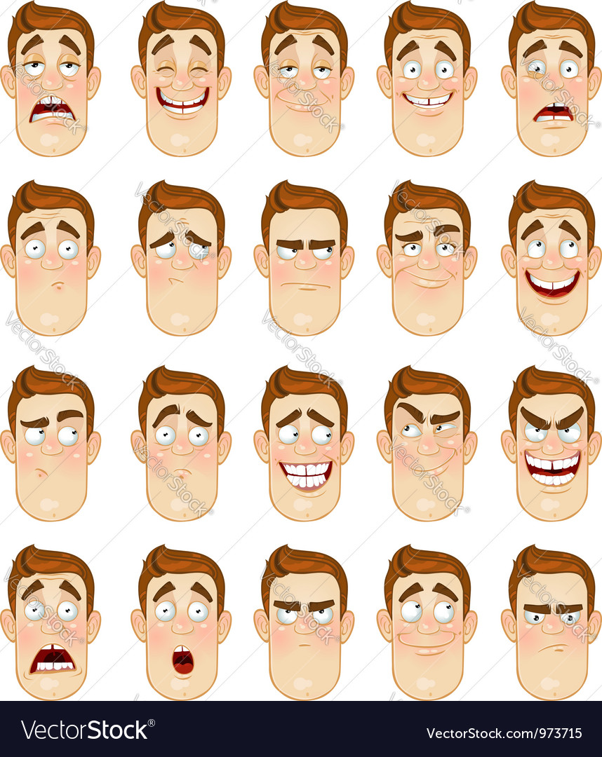 A young man emotions joy sadness hurt shock joy vector | Price: 3 Credit (USD $3)
