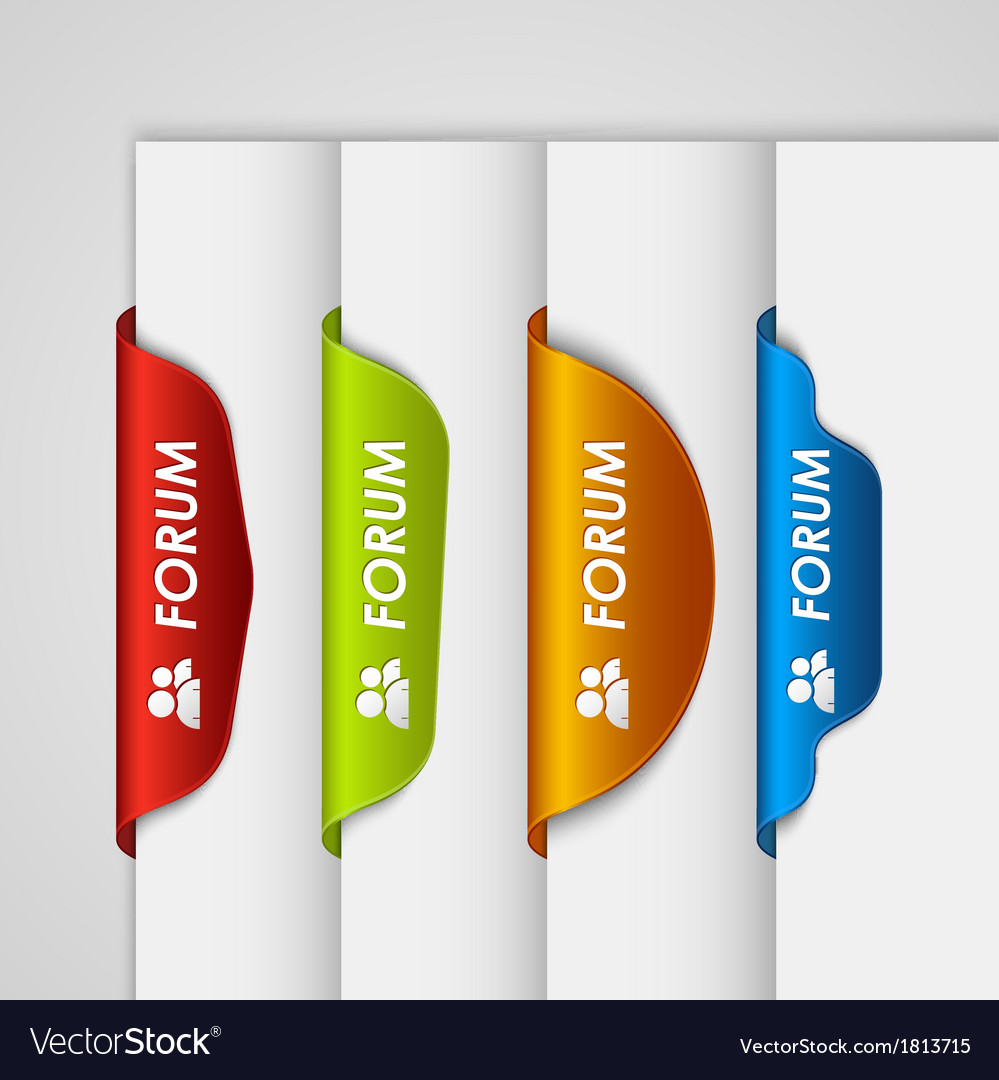 Color label bookmark forum on the edge of web page vector | Price: 1 Credit (USD $1)
