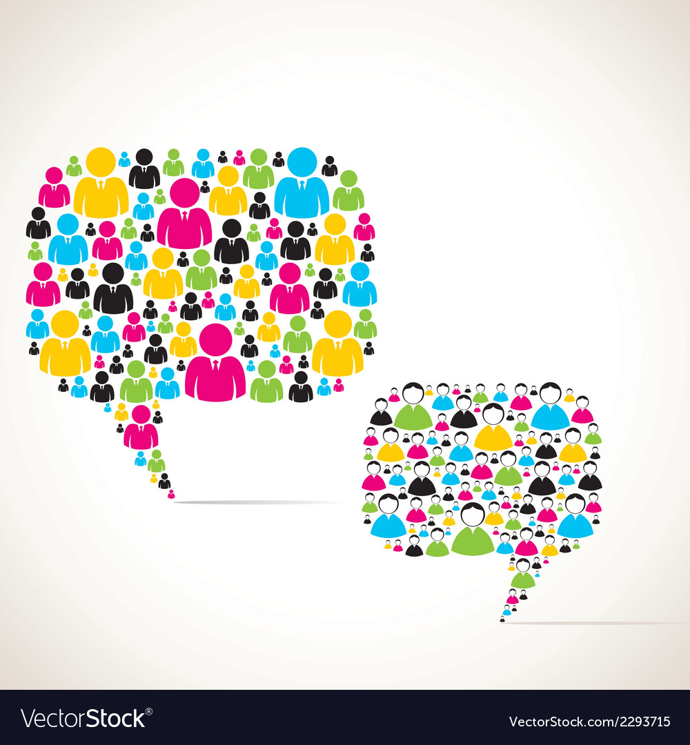 Colorful group of people message bubble stock vector | Price: 1 Credit (USD $1)