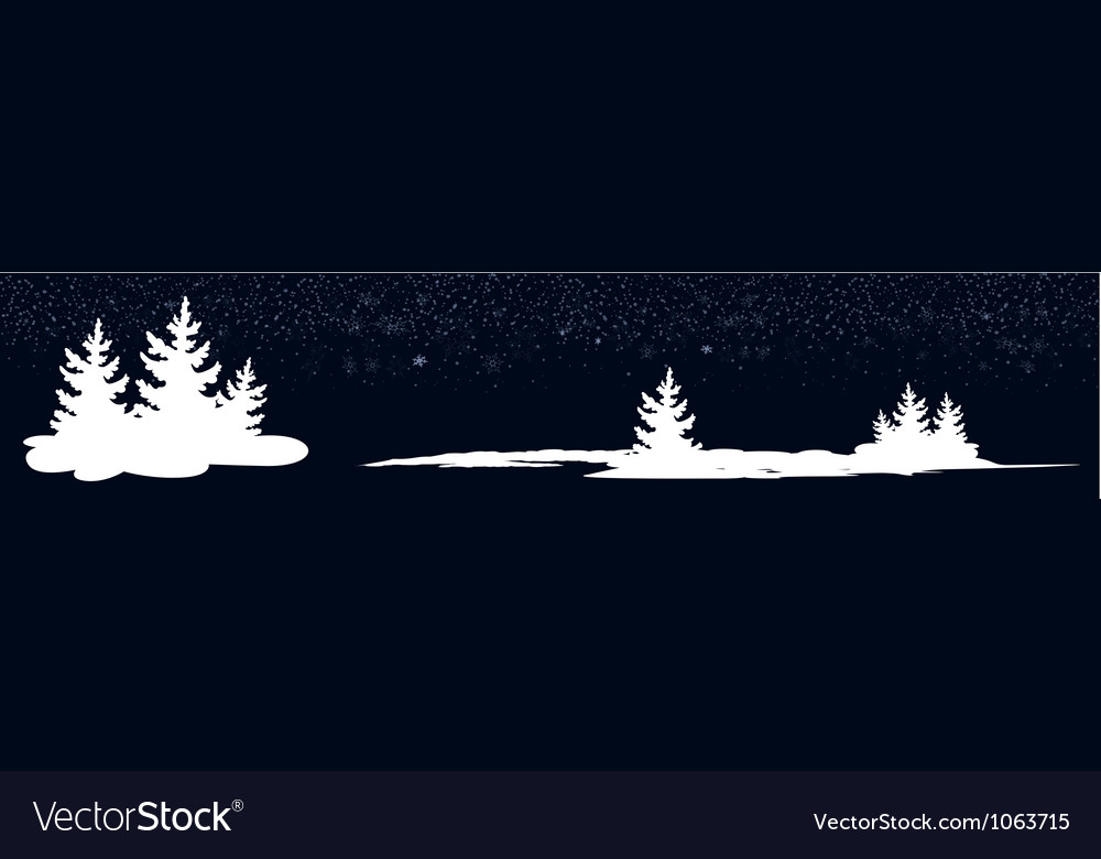 Dark blue banner with new year trees vector | Price: 1 Credit (USD $1)