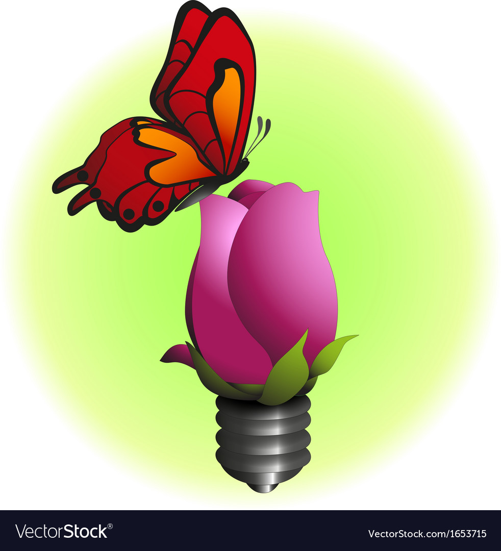 Eco bulb flower with butterfly vector | Price: 1 Credit (USD $1)