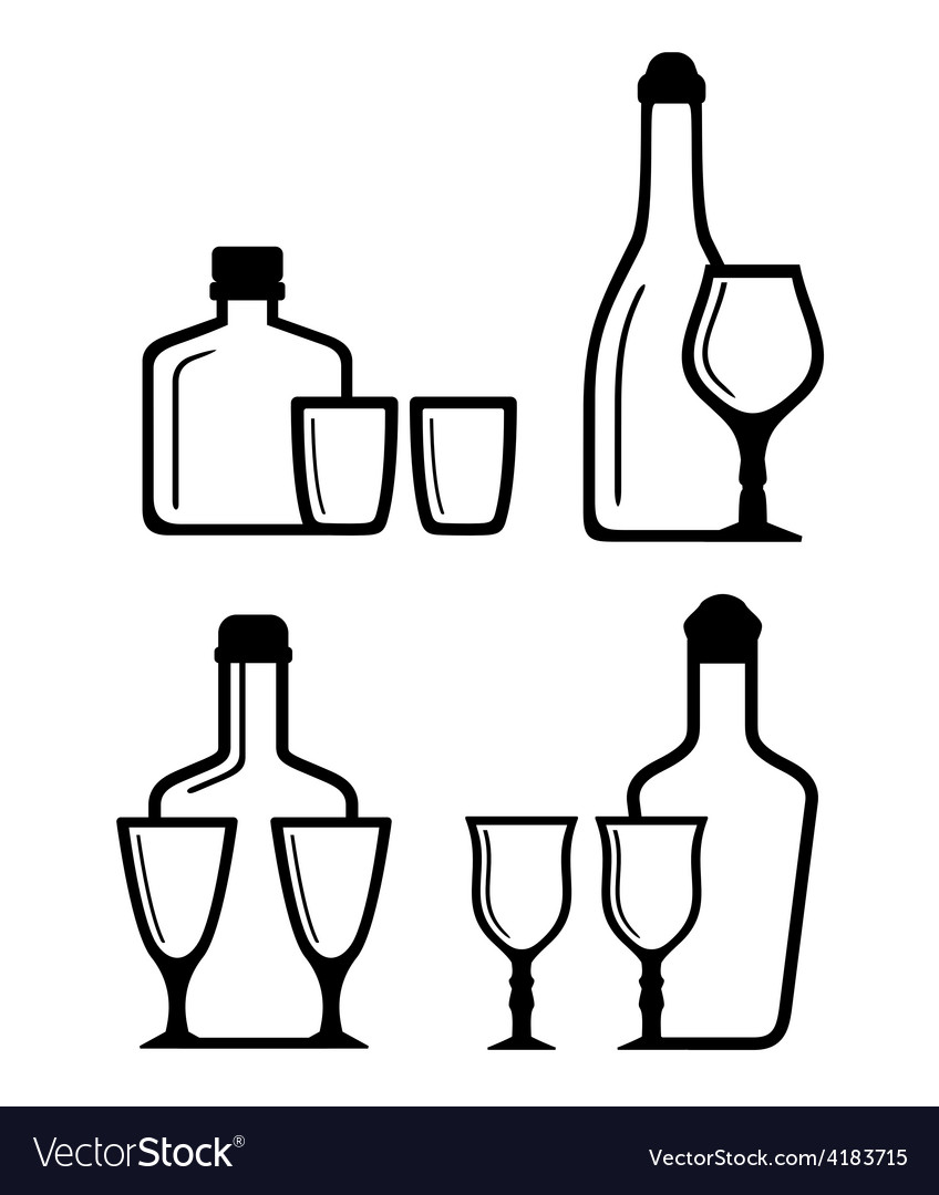 Glass and bottle icons vector | Price: 1 Credit (USD $1)