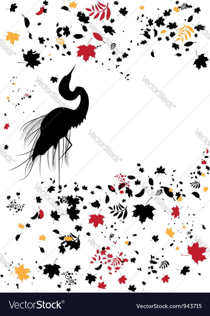 Heron and autumnal leaves vector | Price: 1 Credit (USD $1)