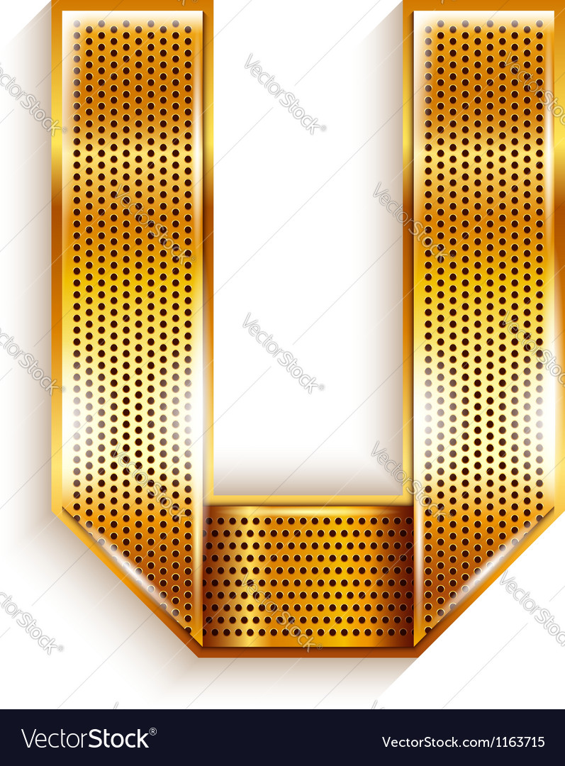 Letter metal gold ribbon - u vector | Price: 1 Credit (USD $1)