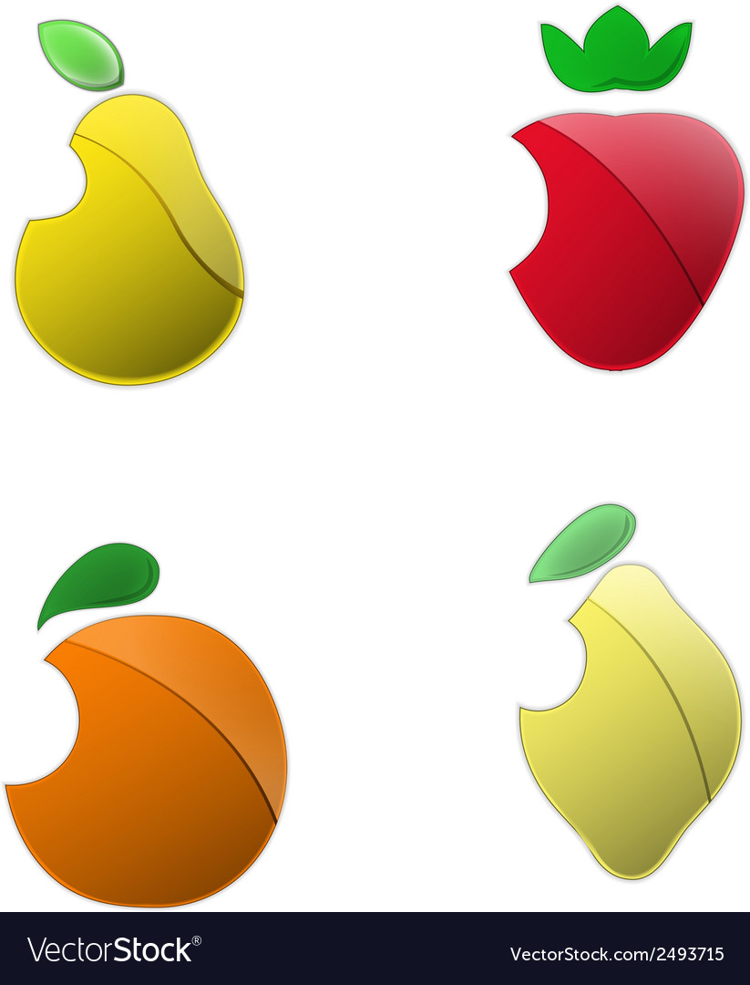 Metallic colored fruits set isolated on white vector | Price: 1 Credit (USD $1)
