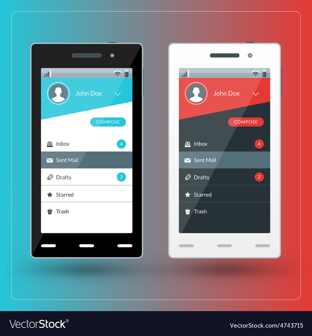 Modern smartphone with email app screen flat vector | Price: 1 Credit (USD $1)