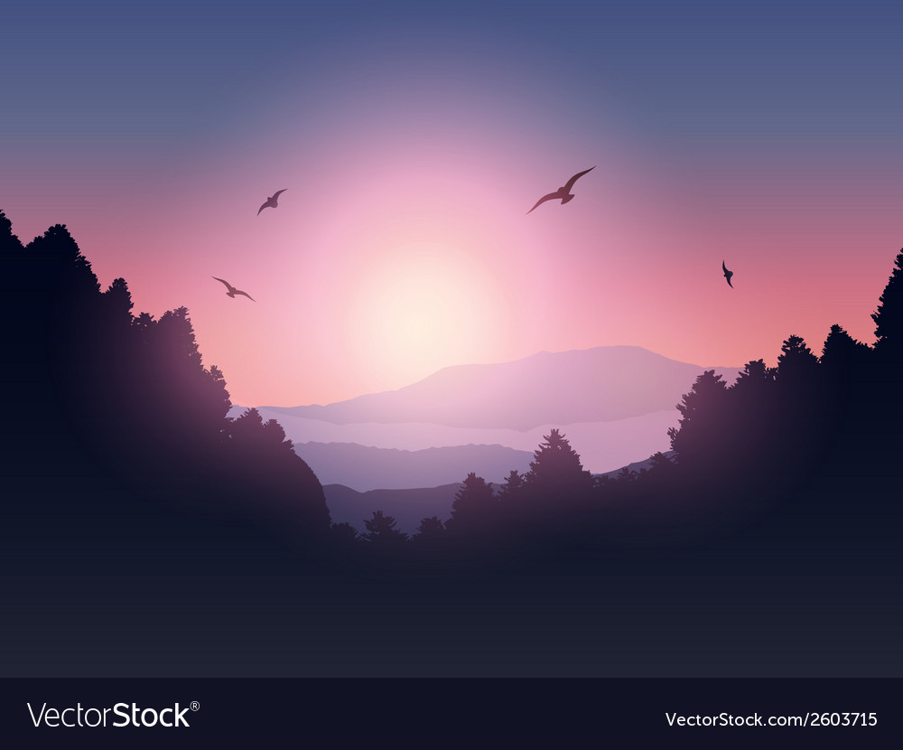 Mountain and trees landscape vector | Price: 1 Credit (USD $1)
