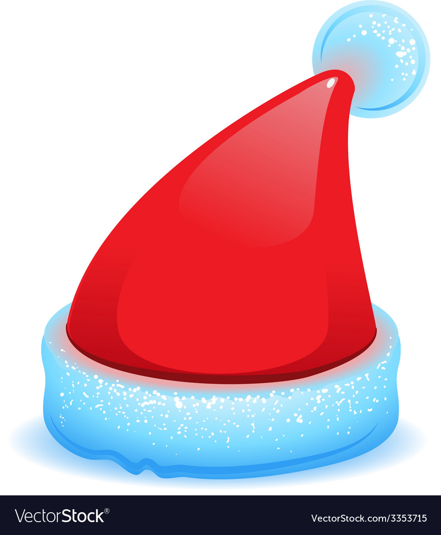 Red christmas hat with blue trim vector | Price: 1 Credit (USD $1)