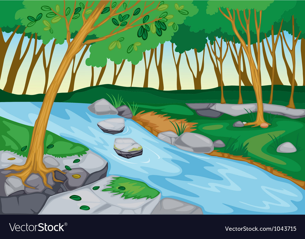 River flowing in nature vector | Price: 1 Credit (USD $1)