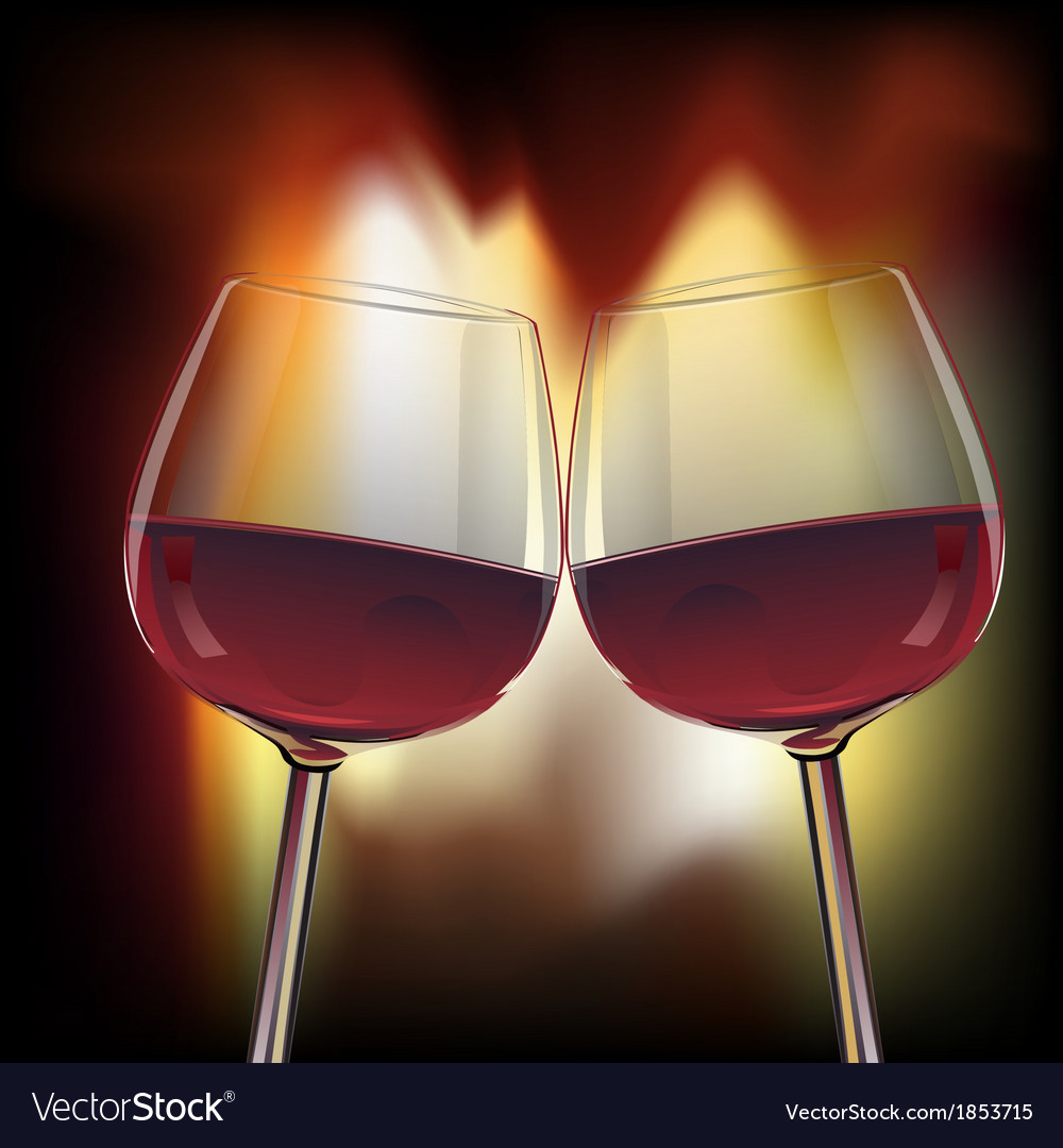 Romantic scene of two glasswine by fireplace vector | Price: 1 Credit (USD $1)