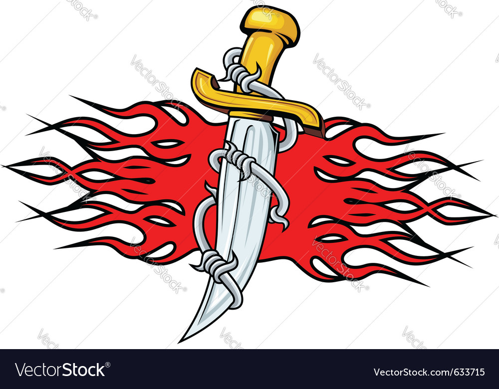 Sharp dagger with barbed wire and flames for tatto vector | Price: 1 Credit (USD $1)