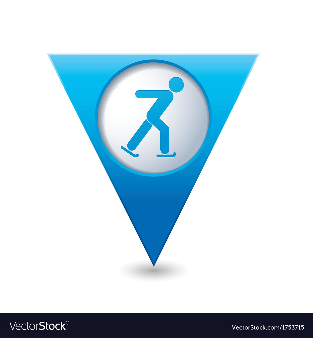 Skater icon on blue triangular map pointer vector   Price: 1 Credit (USD $1)