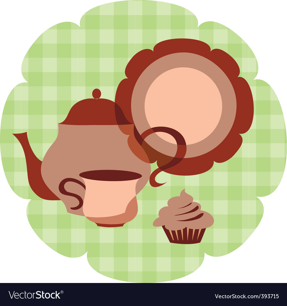 Tea set with muffin vector | Price: 1 Credit (USD $1)