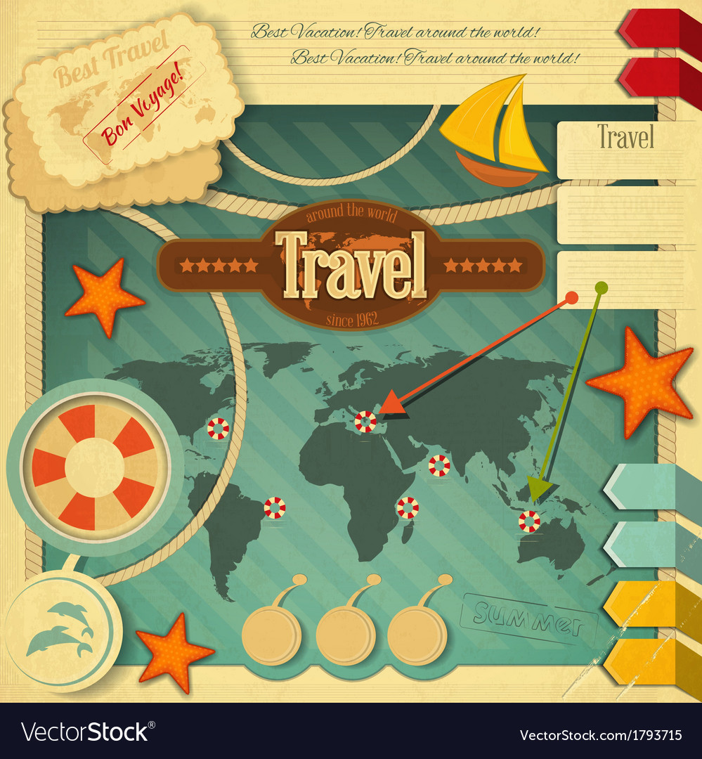 Travel postcard vector | Price: 1 Credit (USD $1)