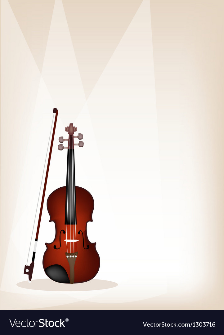 A beautiful violin on brown stage background vector | Price: 1 Credit (USD $1)