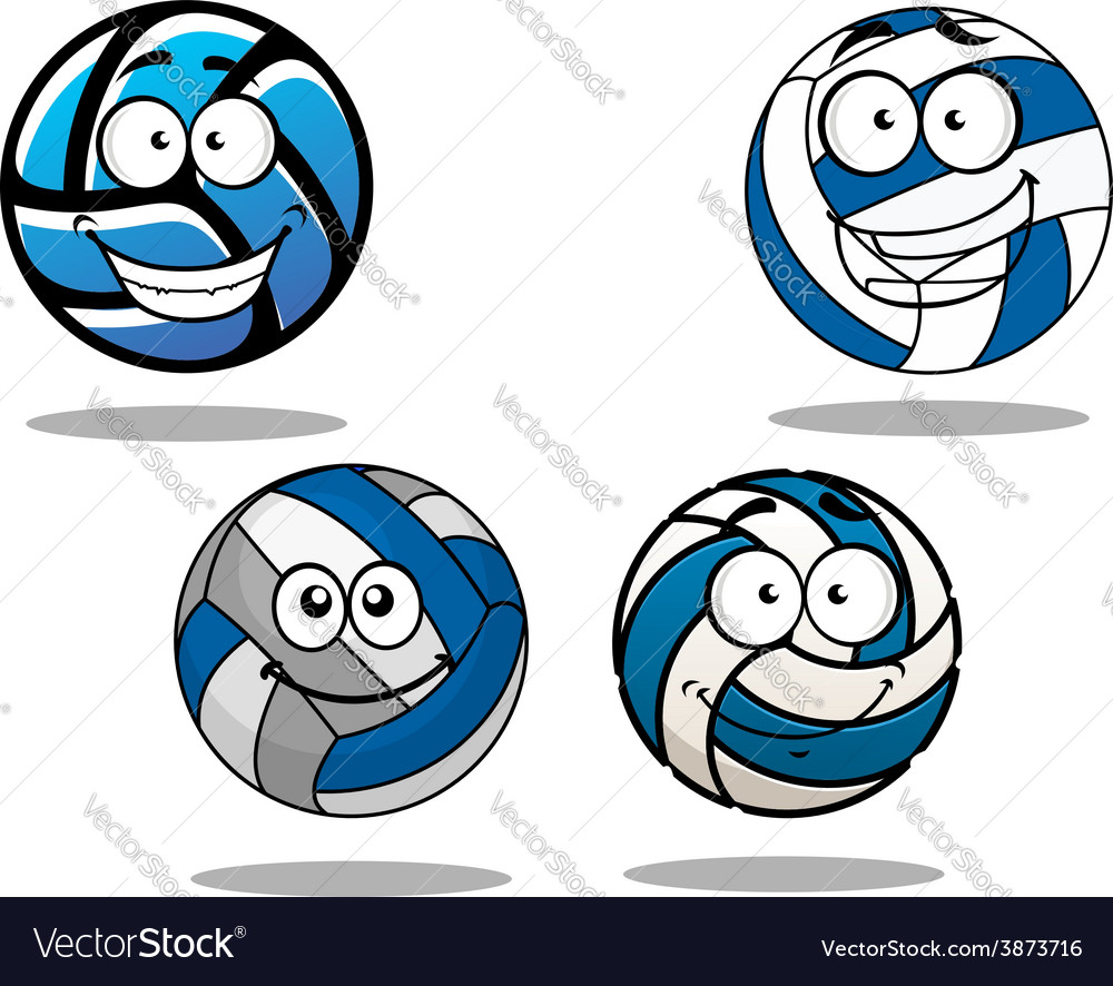 Cartooned blue and white volleyball balls vector | Price: 1 Credit (USD $1)