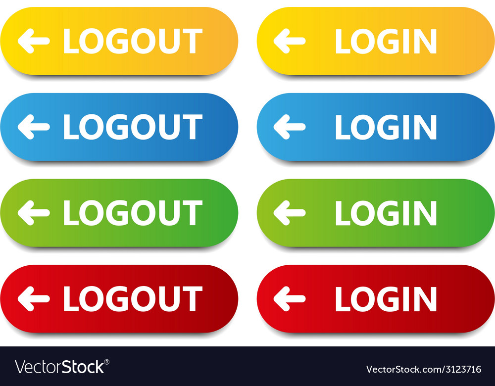 Color button log in log out vector | Price: 1 Credit (USD $1)