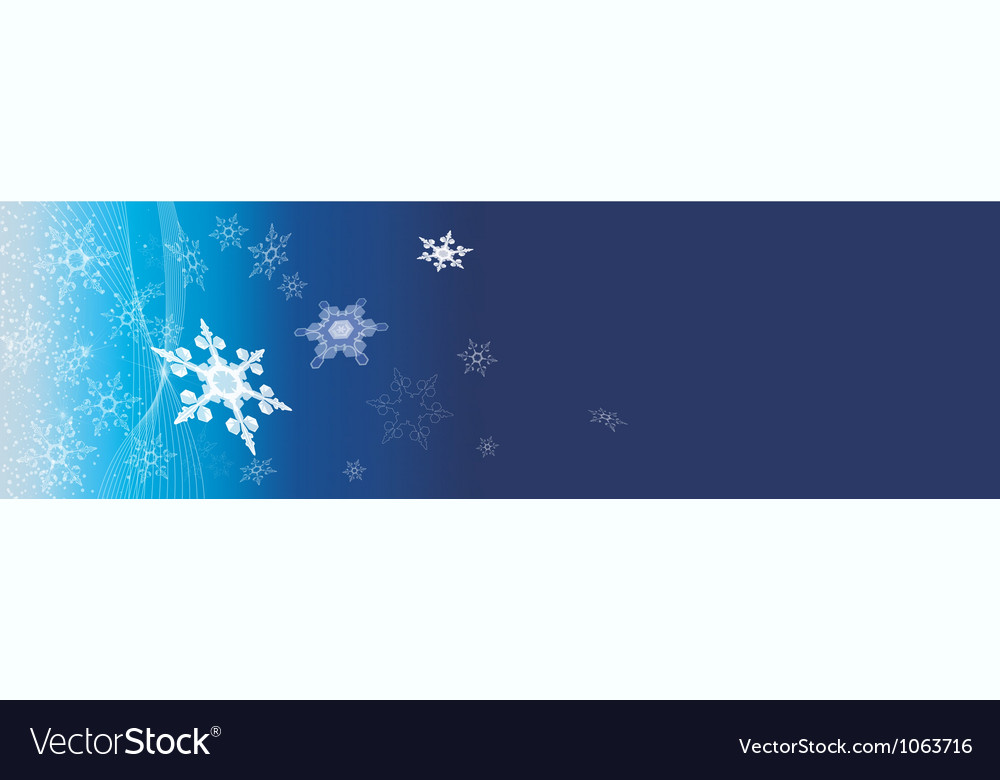 Dark blue banner with snowflakes vector | Price: 1 Credit (USD $1)