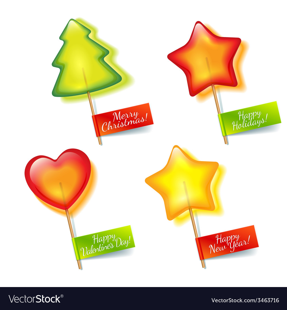 Four bright holiday lollipop vector   Price: 1 Credit (USD $1)