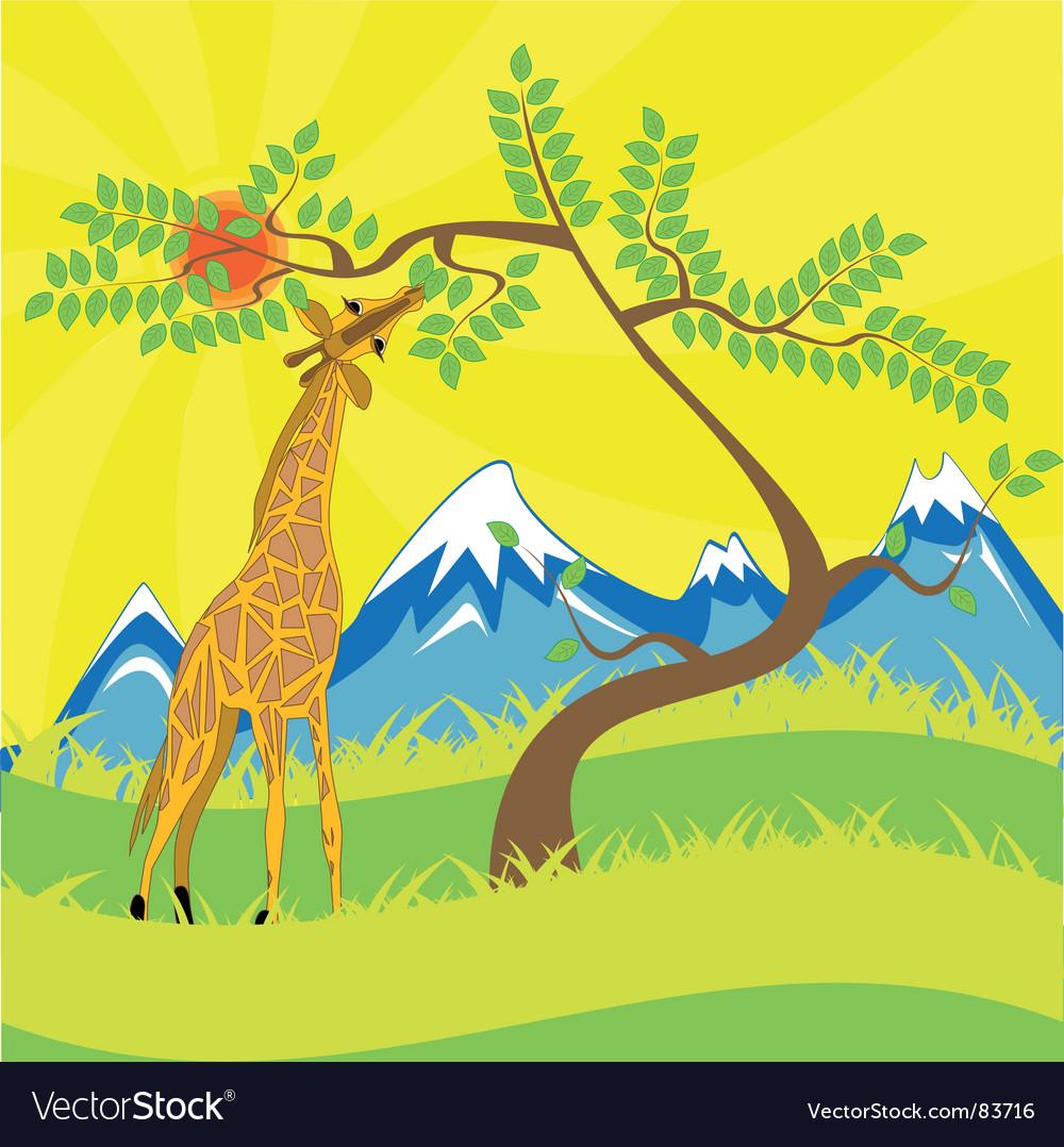 Giraffe and tree vector | Price: 1 Credit (USD $1)