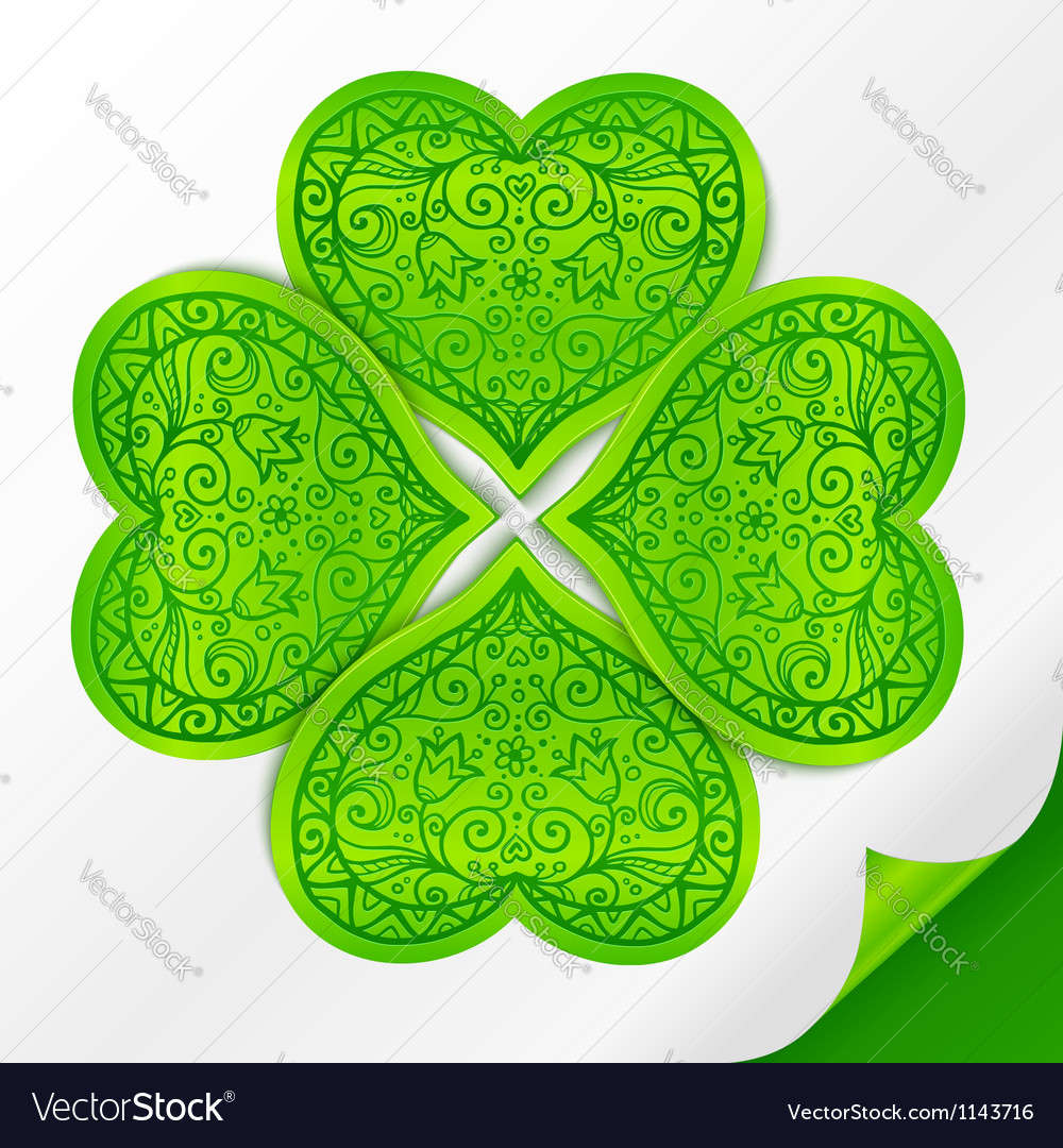 Ornate lucky clover on paper vector | Price: 1 Credit (USD $1)