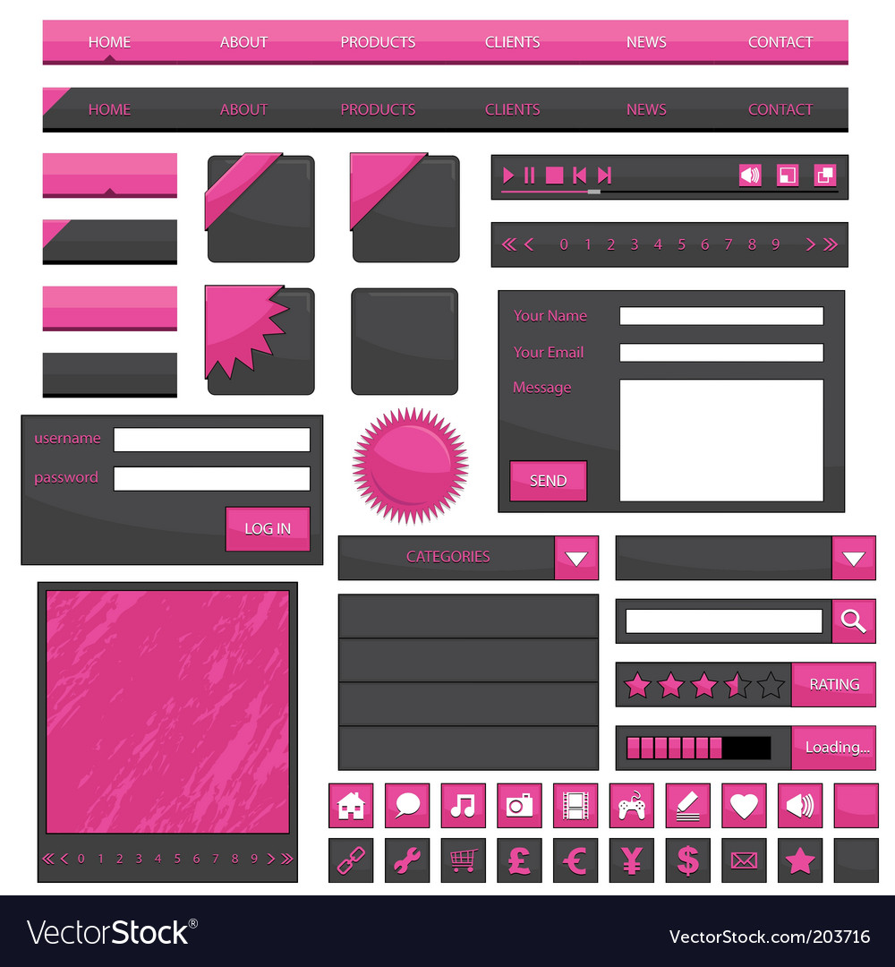 Pink web objects vector | Price: 1 Credit (USD $1)