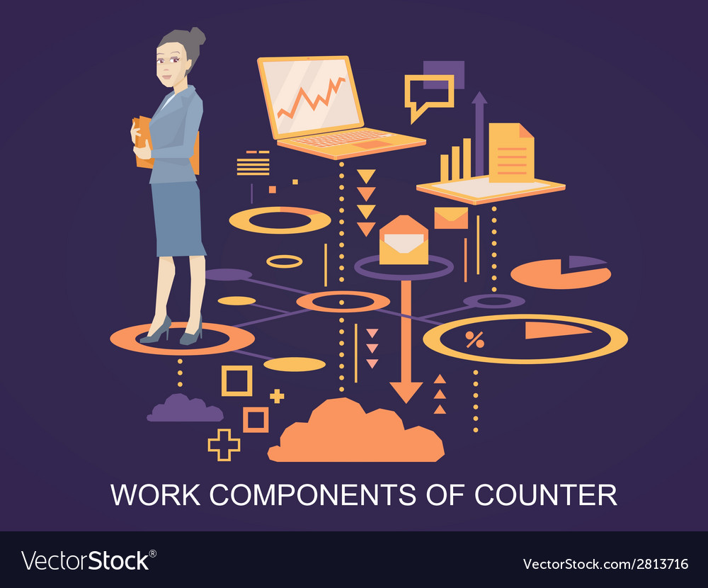 Portrait of a woman counter keeps a folder w vector | Price: 1 Credit (USD $1)