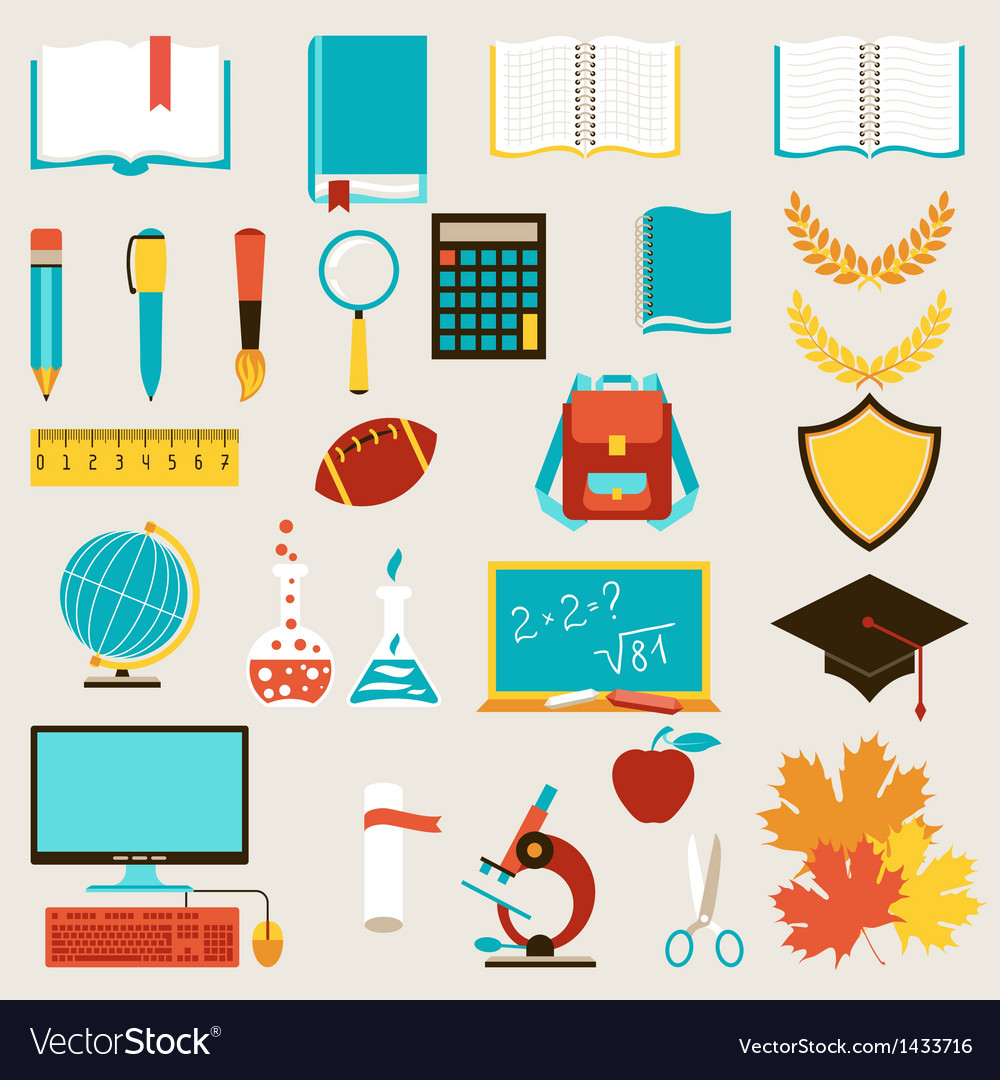 School and education icons set vector | Price: 3 Credit (USD $3)