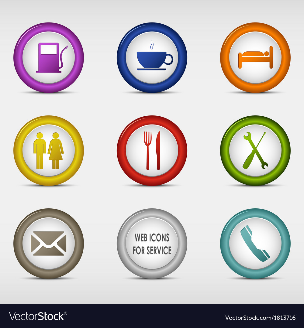 Set of colored round web icons for service vector | Price: 1 Credit (USD $1)