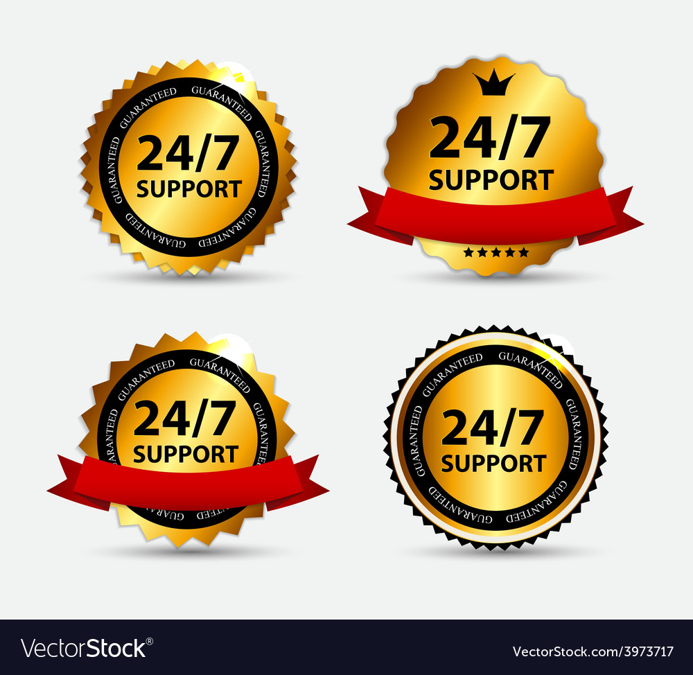 24-7 support sign label template vector | Price: 1 Credit (USD $1)