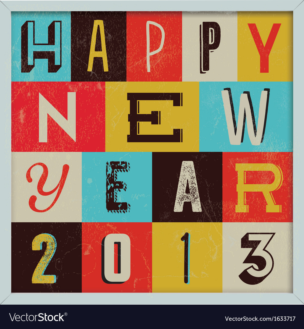 307colorful retro vintage 2013 new year vector | Price: 1 Credit (USD $1)