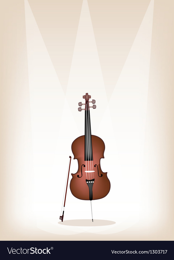 A beautiful brown cello on stage background vector | Price: 1 Credit (USD $1)