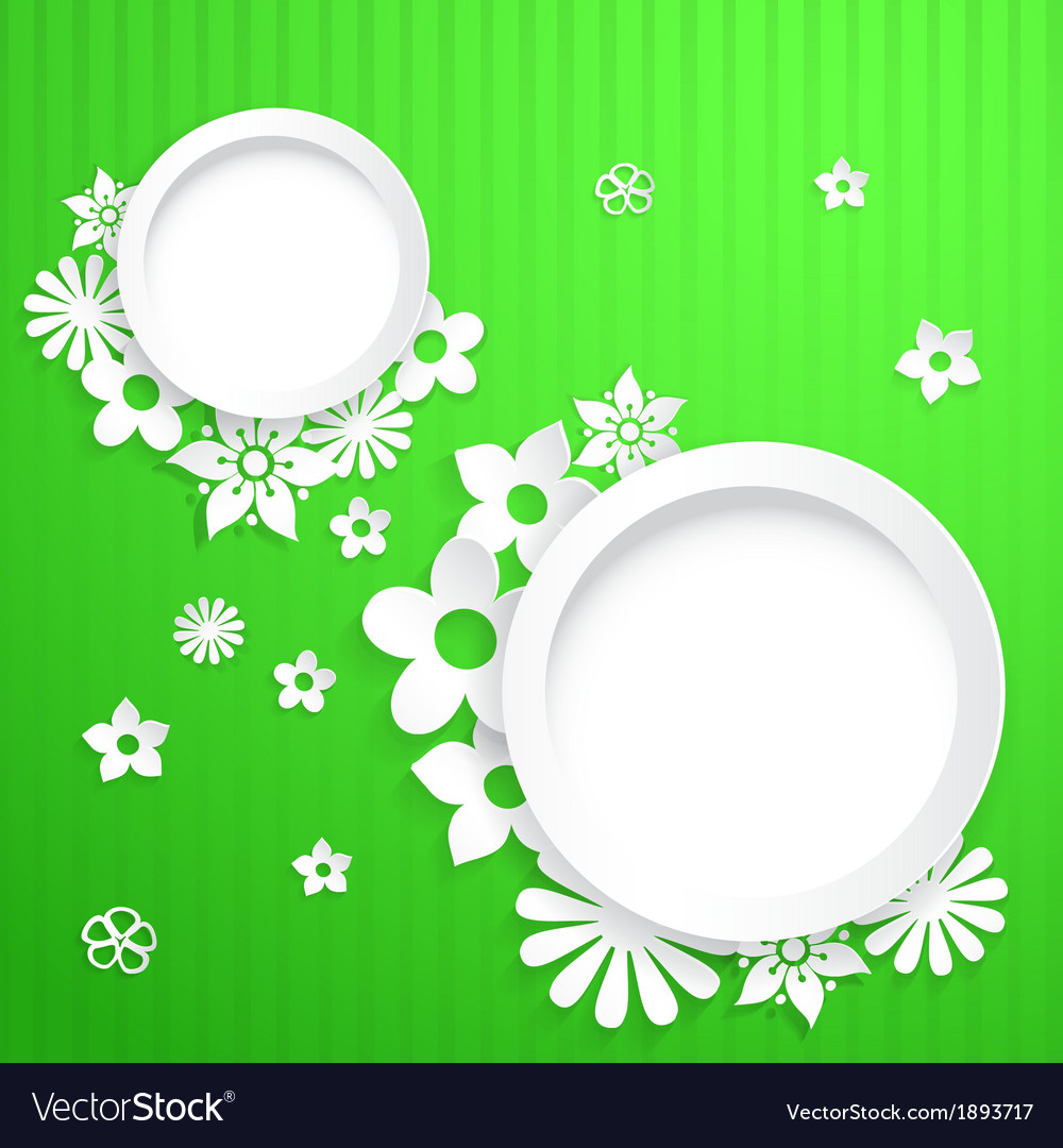 Background with circles and paper flowers vector | Price: 1 Credit (USD $1)