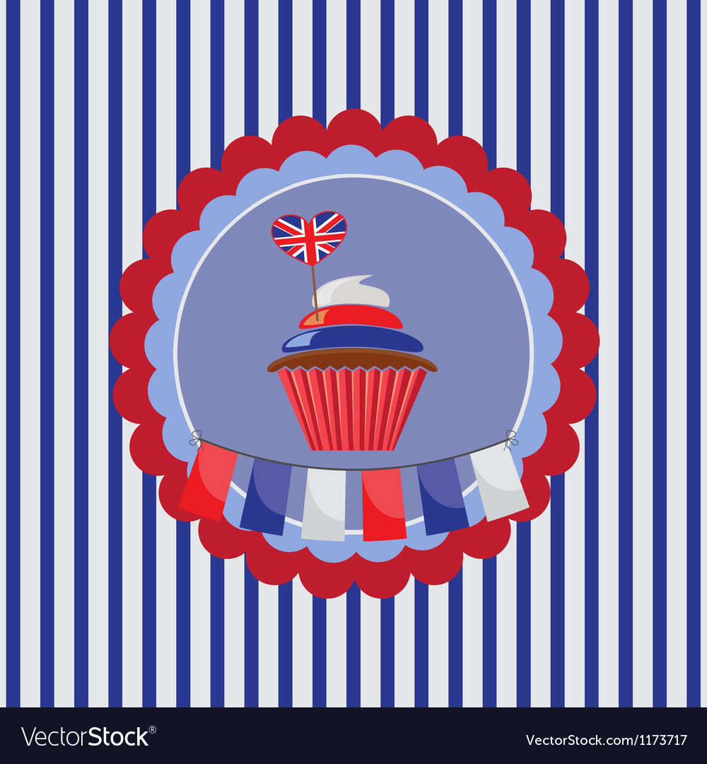 Background with cupcake in uk traditional colors vector | Price: 1 Credit (USD $1)