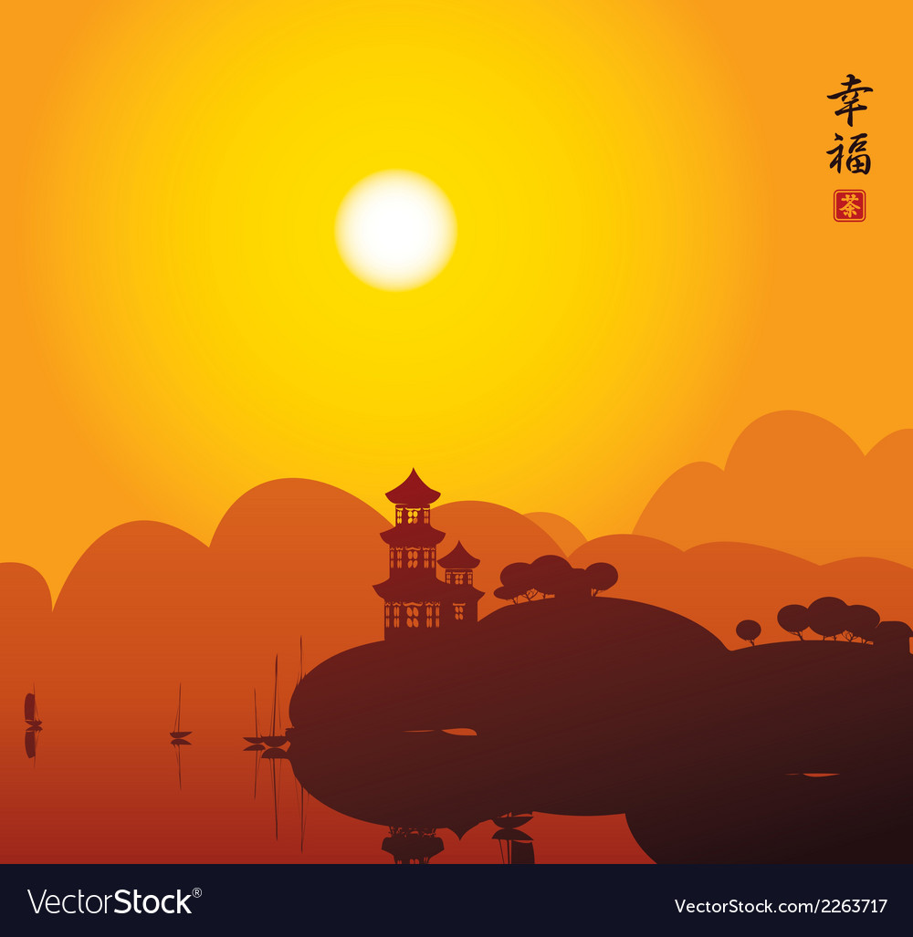 China lake vector | Price: 1 Credit (USD $1)