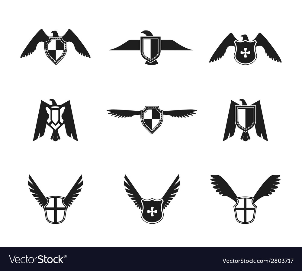 Eagle icon shield set vector | Price: 1 Credit (USD $1)