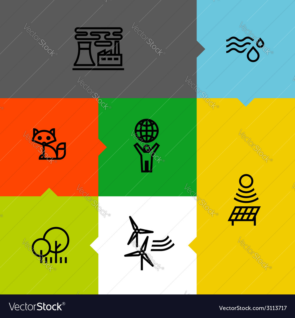 Ecology green environment line icons set vector | Price: 1 Credit (USD $1)