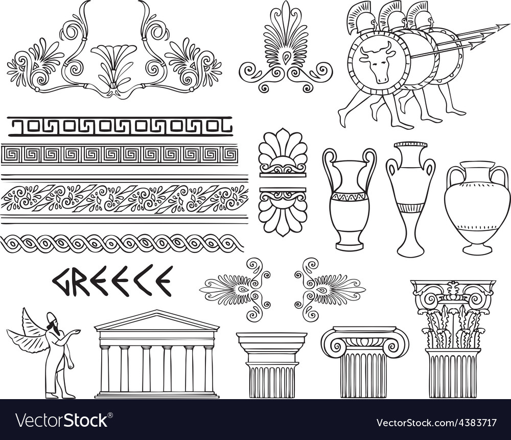 Greece architecture and ornaments set vector | Price: 1 Credit (USD $1)