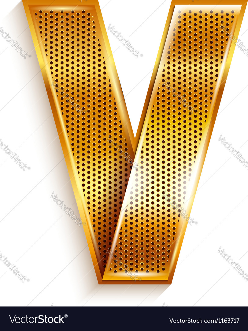 Letter metal gold ribbon - v vector | Price: 1 Credit (USD $1)
