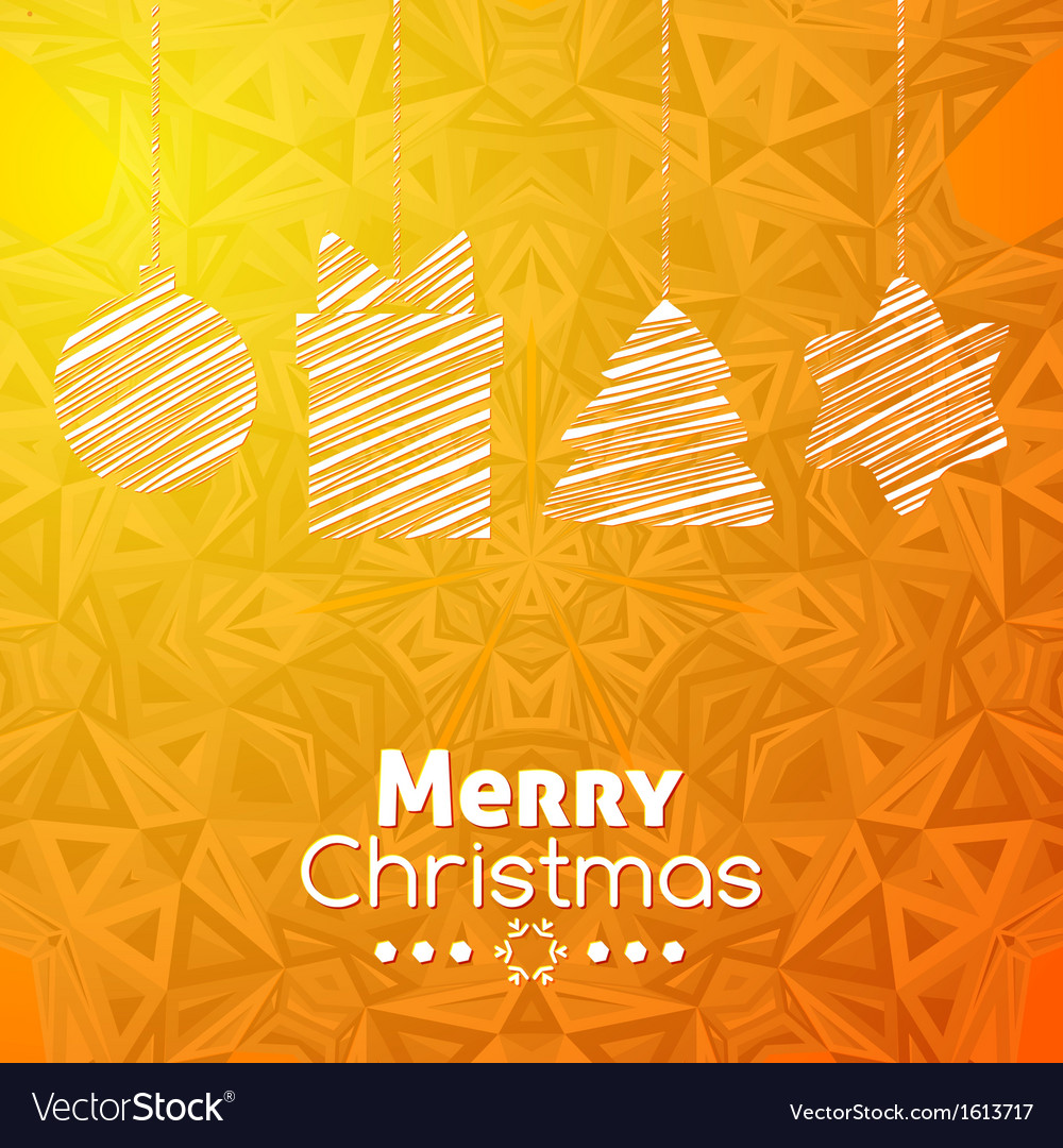 Merry christmas gifts card abstract orange vector | Price: 1 Credit (USD $1)
