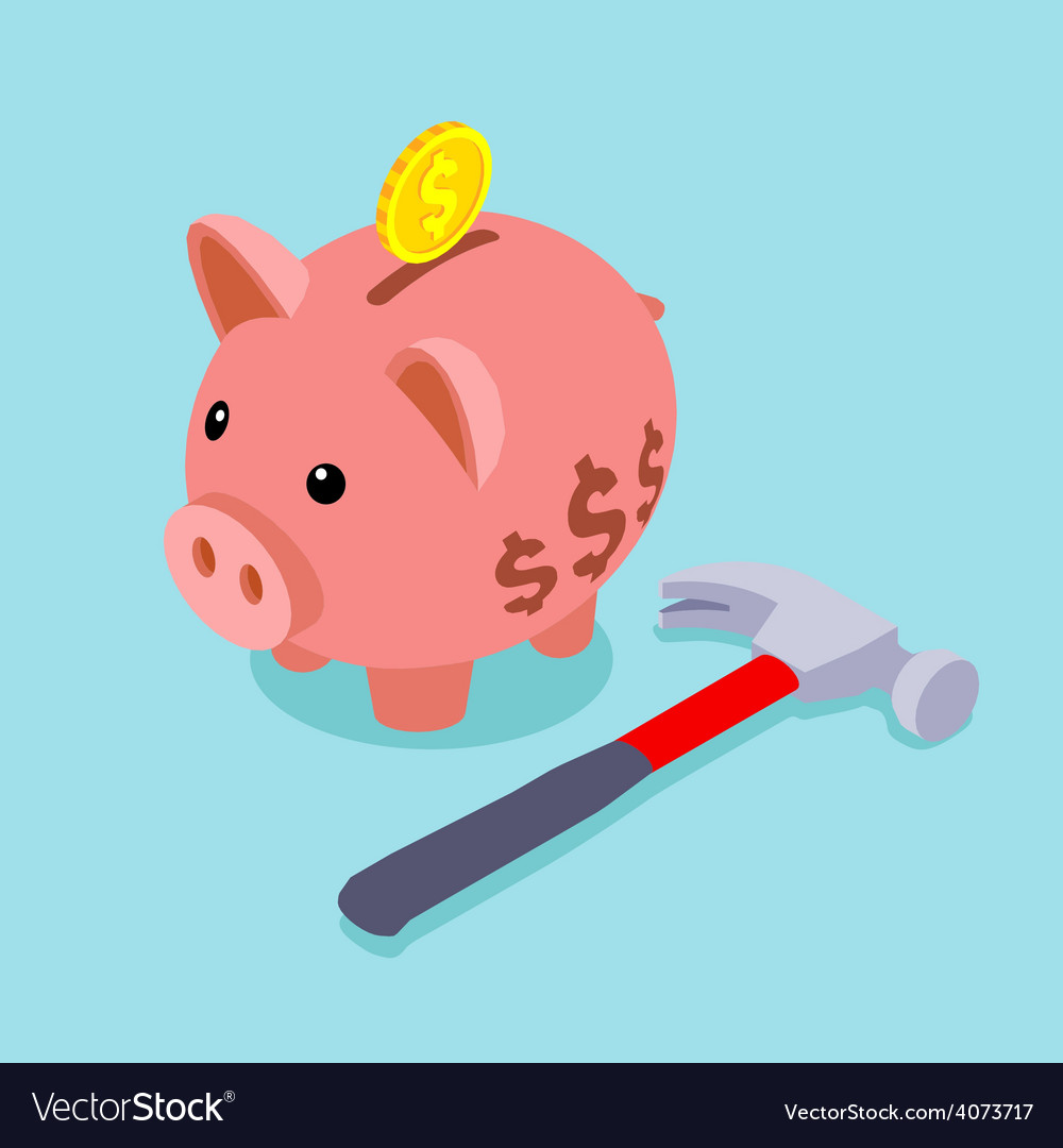 Piggy bank with golden coin and lying hammer vector | Price: 1 Credit (USD $1)