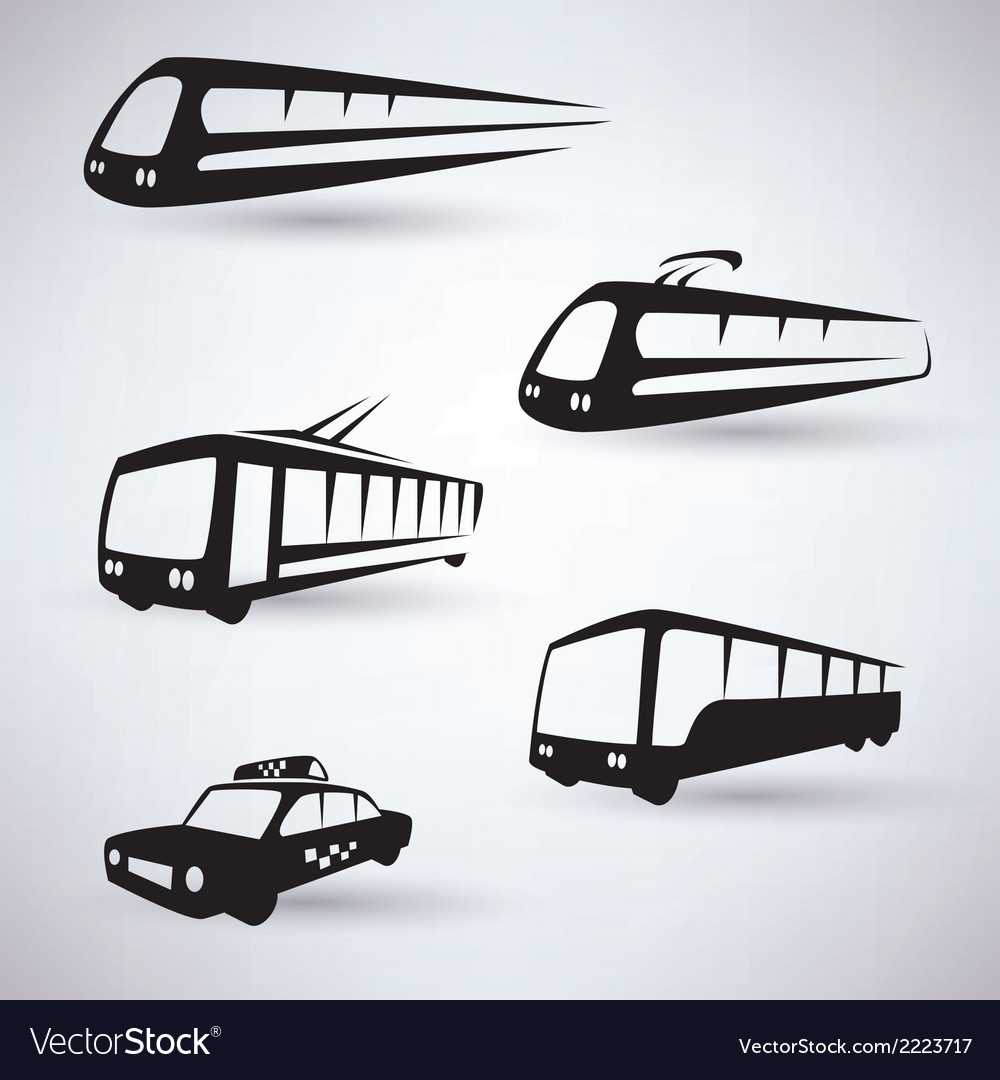 Public city transport icons set vector | Price: 1 Credit (USD $1)