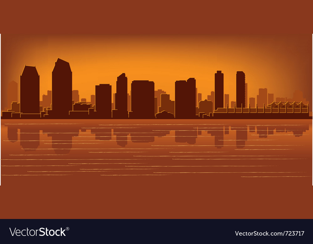 San diego skyline vector | Price: 1 Credit (USD $1)