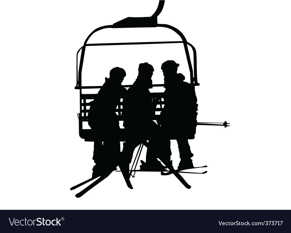 Ski lift and people vector | Price: 1 Credit (USD $1)