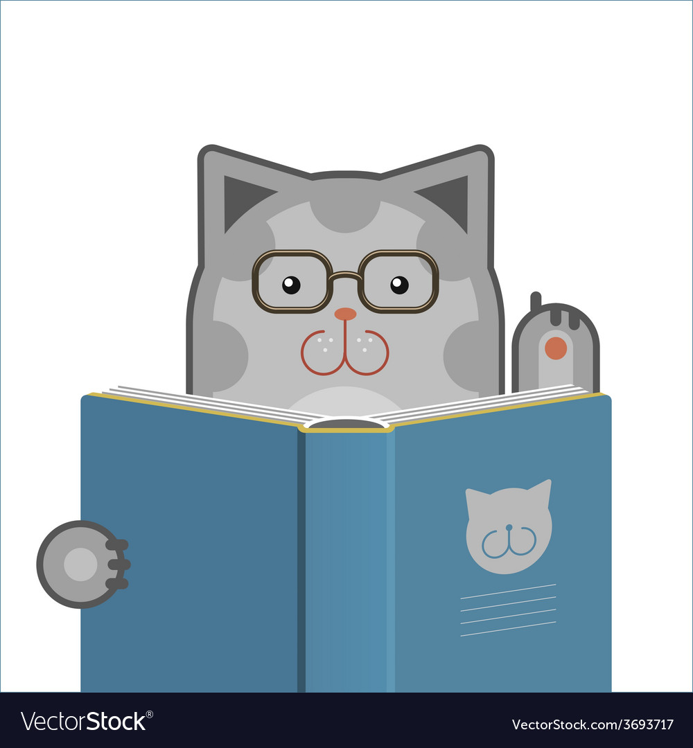 Smart cat with book vector