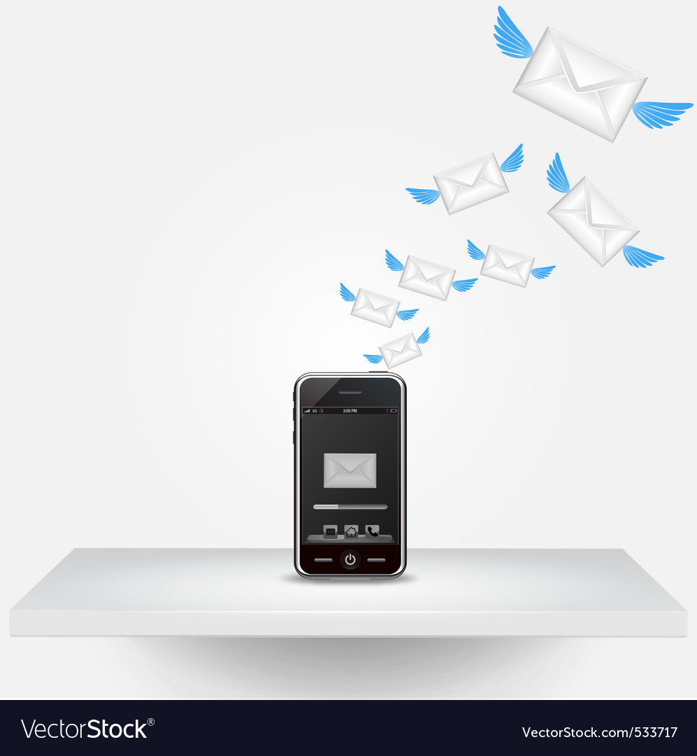 Smart phone sending email vector | Price: 1 Credit (USD $1)