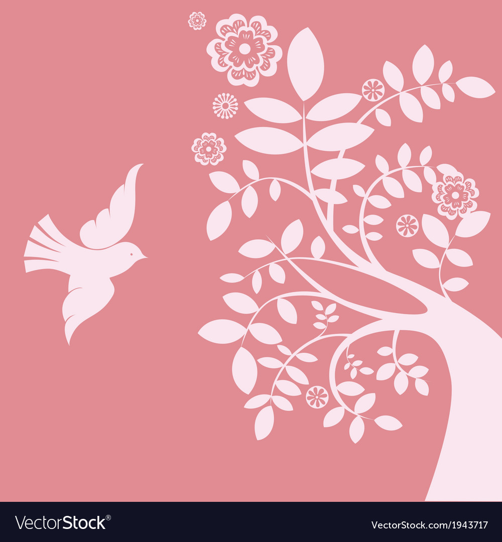 Spring tree and bird vector | Price: 1 Credit (USD $1)