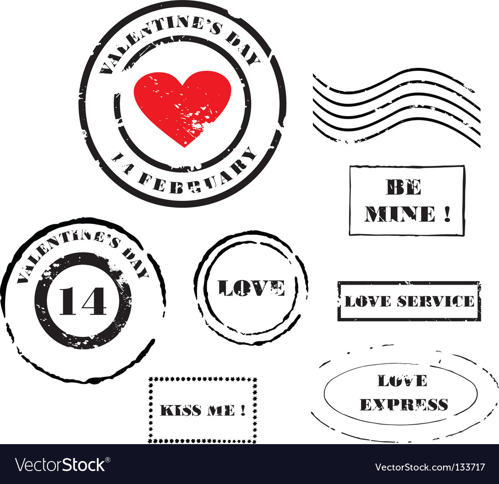 Valentine's day post stamps vector | Price: 1 Credit (USD $1)