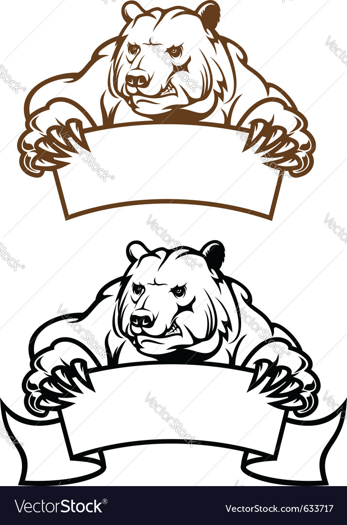Wild kodiak bear with banner as a mascot isolated vector | Price: 1 Credit (USD $1)